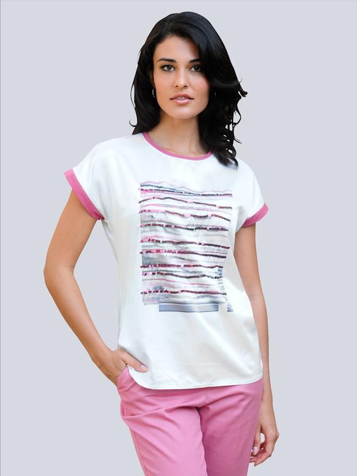 Alba Moda Shirt mit Druck und Pailletten, Ecru/Beere