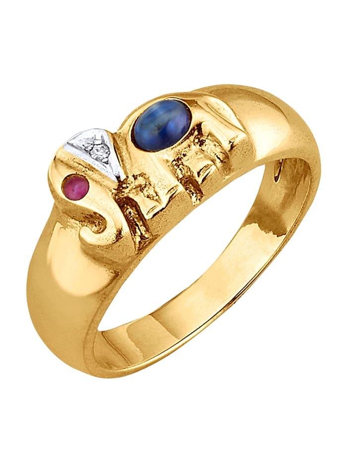 Amara Farbstein Elefanten-Ring in Gelbgold, Multicolor