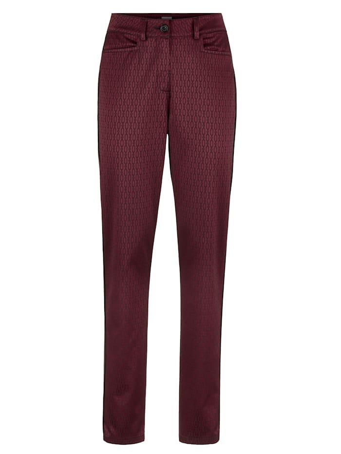 MONA Pantalon à imprimé graphique devant et dos, Fuchsia/Noir
