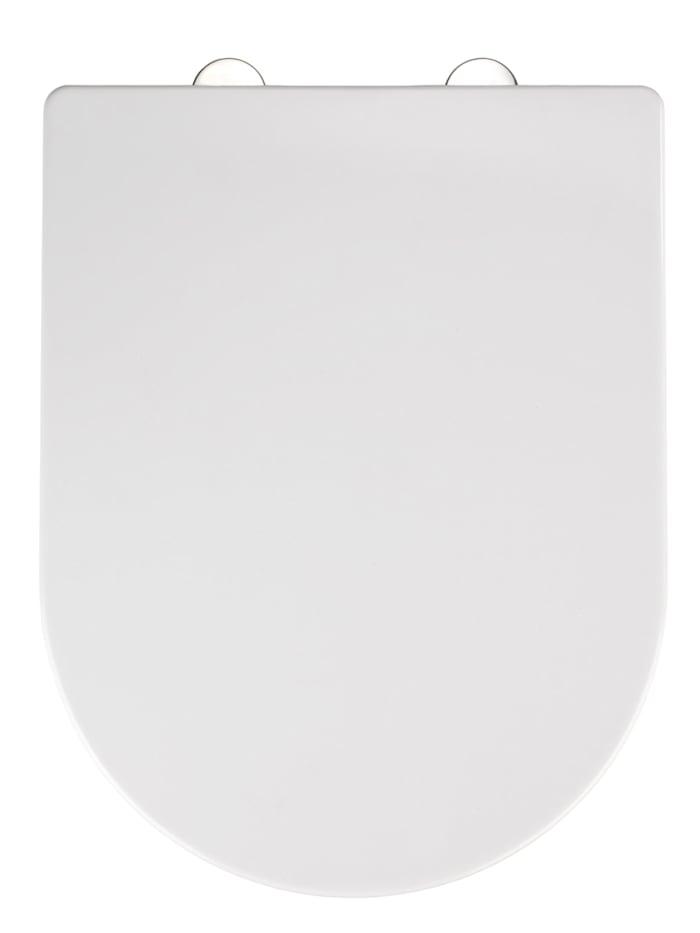 Wenko Premium WC-Sitz Calla, Thermoplast weiß, mit Absenkautomatik, Weiß, Befestigung: Silber matt