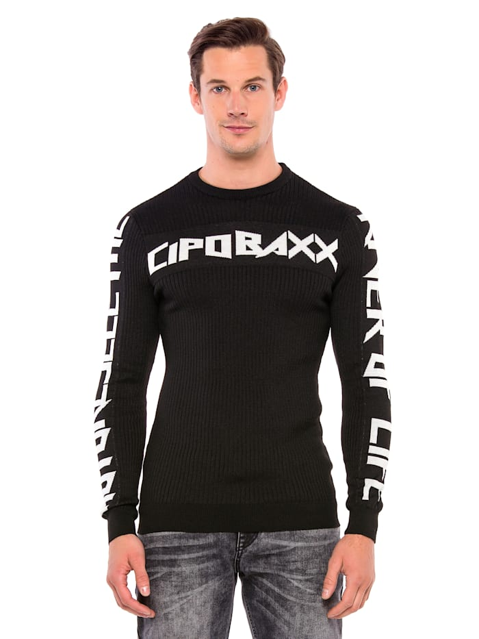 Cipo & Baxx Pullover mit coolem Print, Black