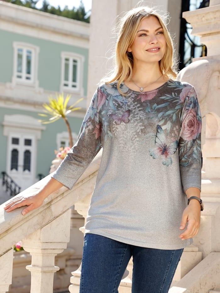 m. collection Feinstrickshirt mit platziertem, floralem Druckdesign, Silbergrau