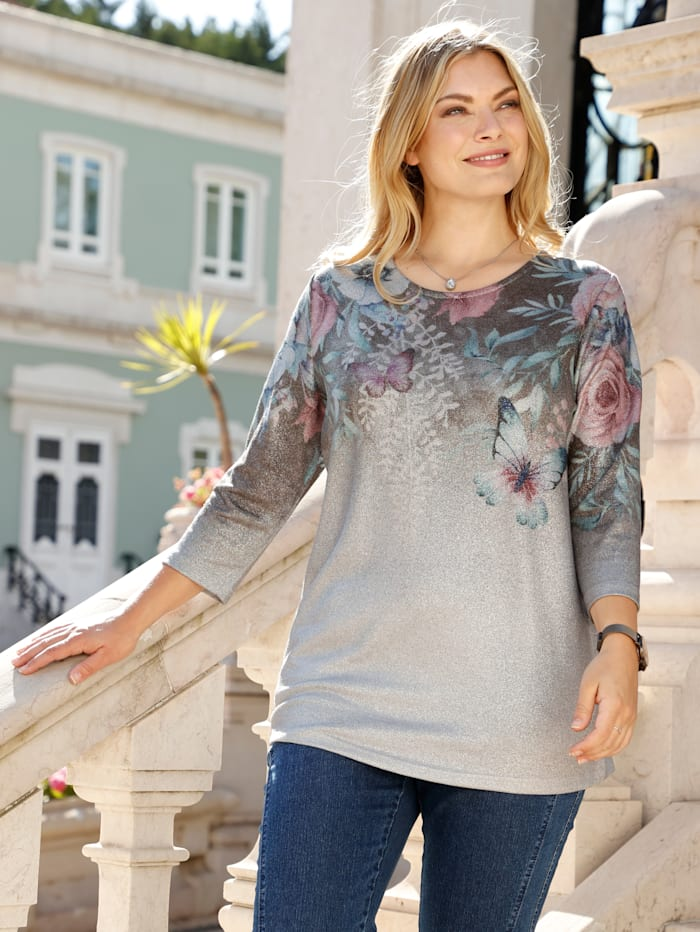 m. collection Shirt met bloemenprint, Zilvergrijs