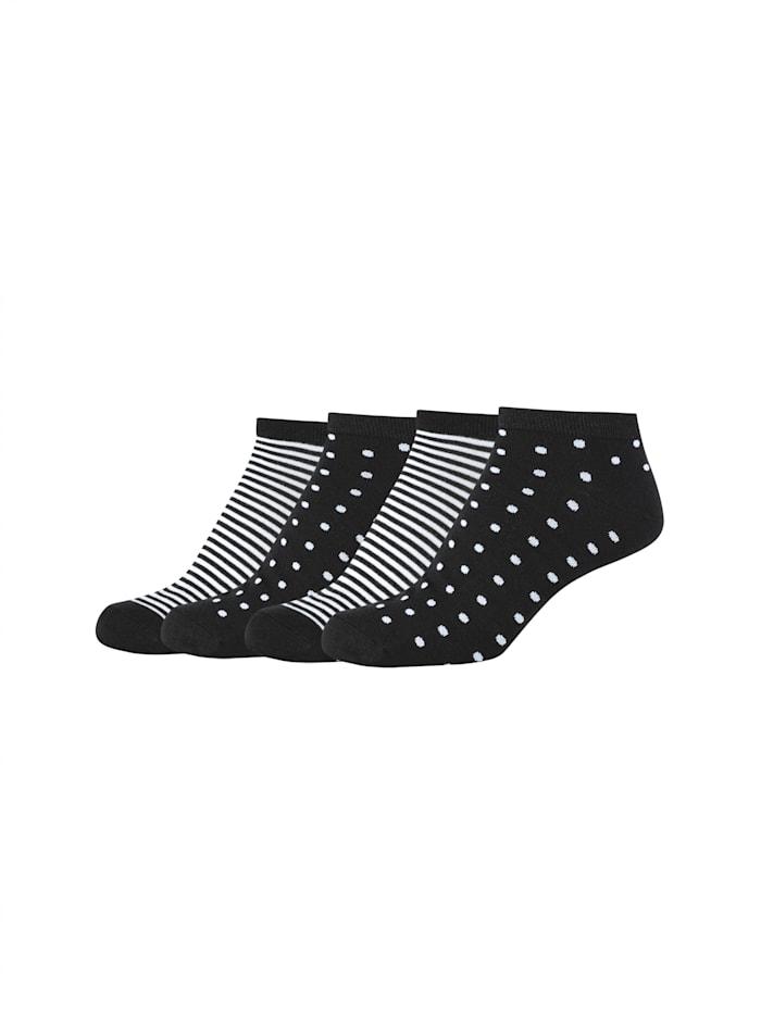 Camano Sneakersocken 4er-Pack mit weichem Komfortbund, black