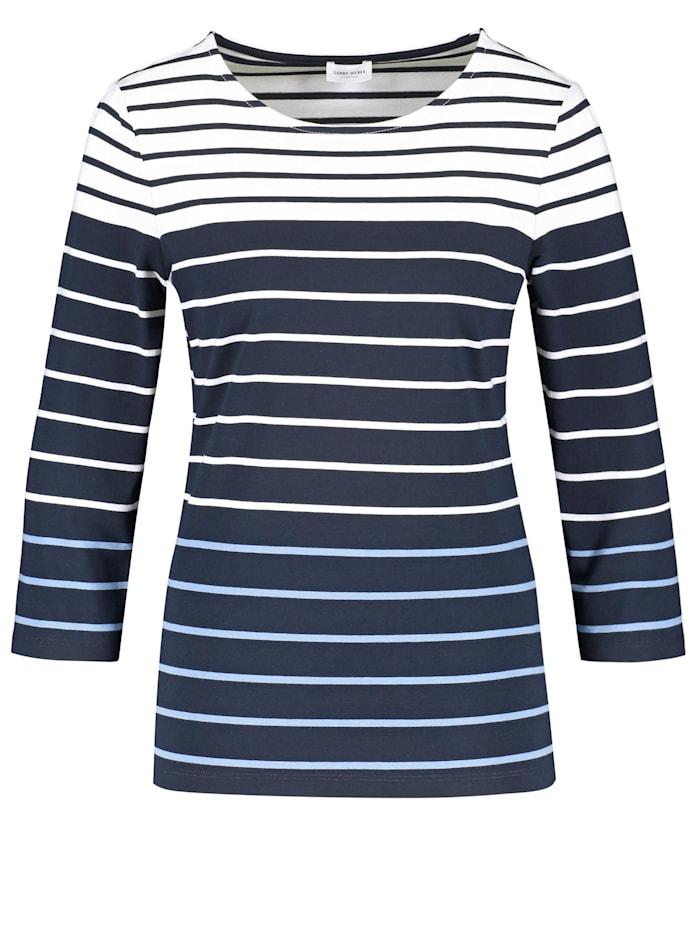 Gerry Weber 3/4 Arm Shirt mit Ringeldessin, Dark Navy/ Vivid Blue/ Ecru
