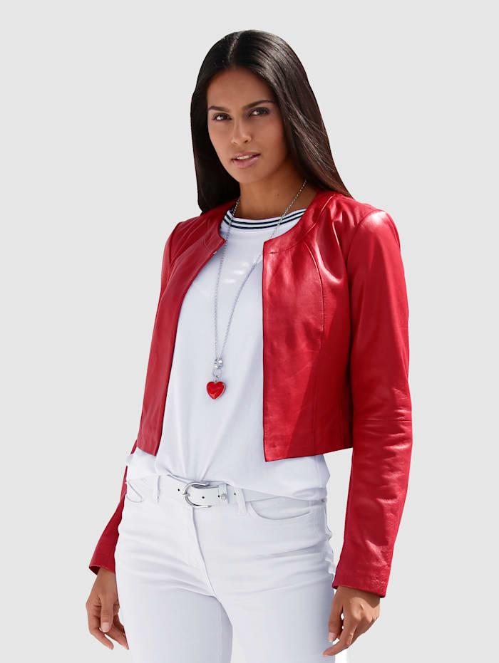 AMY VERMONT Kožená bunda v krátkom strihu, Červená
