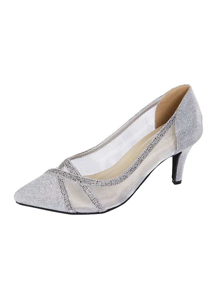 Court shoes in a chic design, Silver-Coloured
