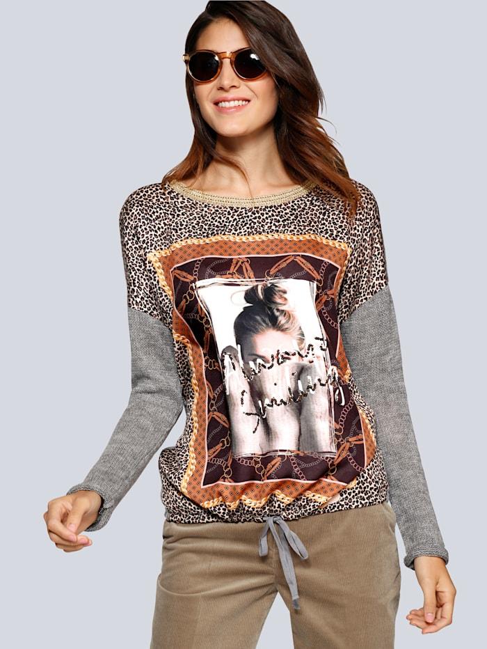 Pullover mit Bluseneinsatz im Vorderteil