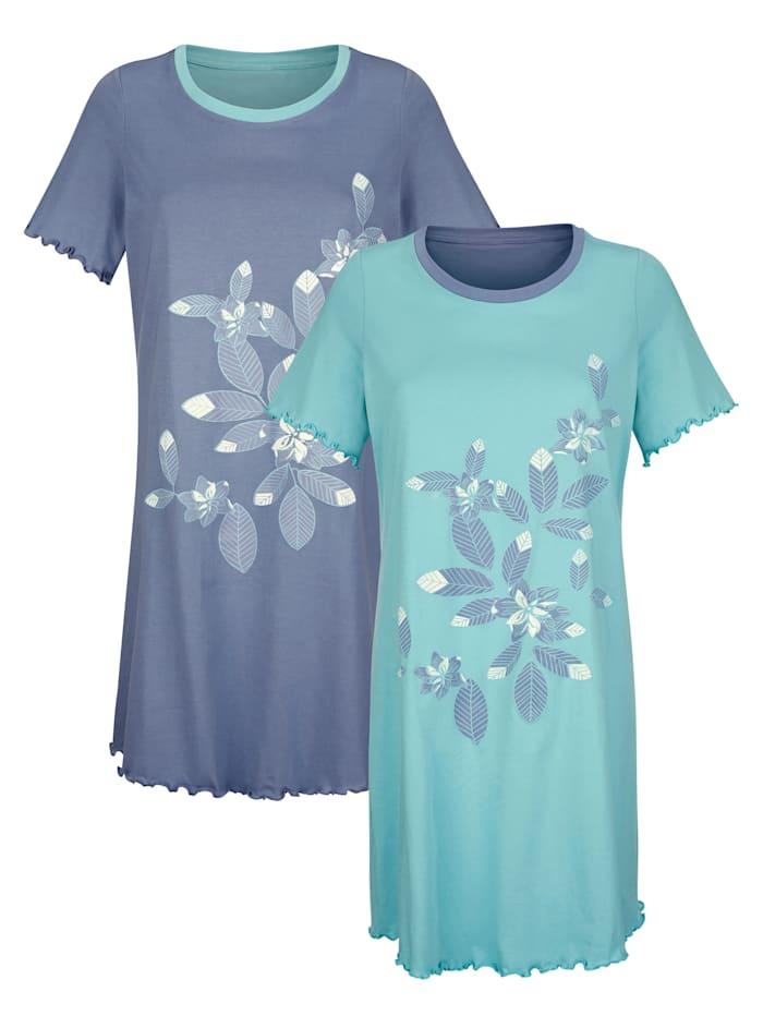 Blue Moon Nachthemden per 2 stuks met geschulpte zomen, Jadegroen/Rookblauw