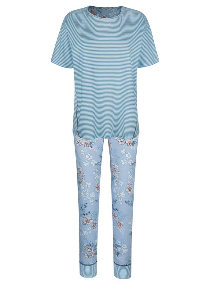 MONA Pyjamas med vackra dekorsömmar fram, Ljusblå