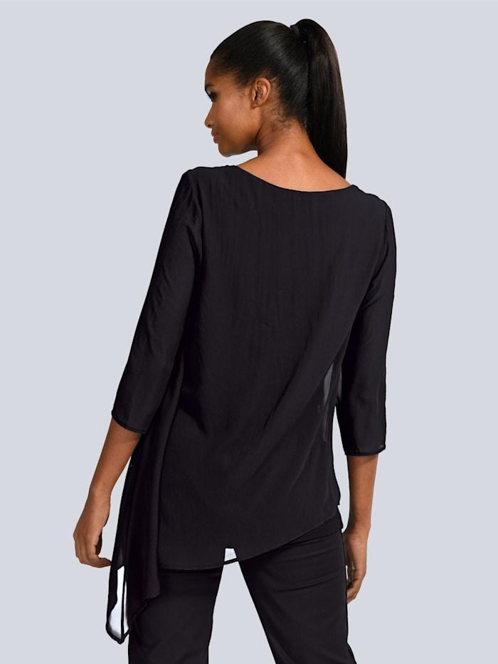Shirt mit asymmetrischer Chiffonlage