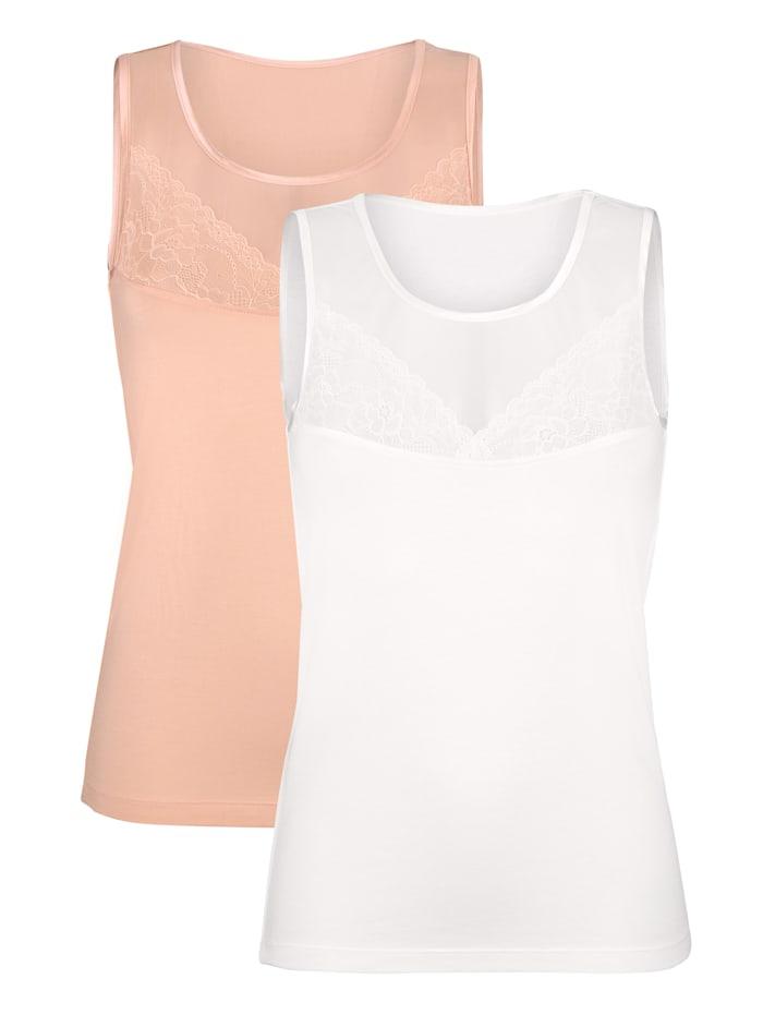 Harmony Achselhemden, Apricot/Weiß