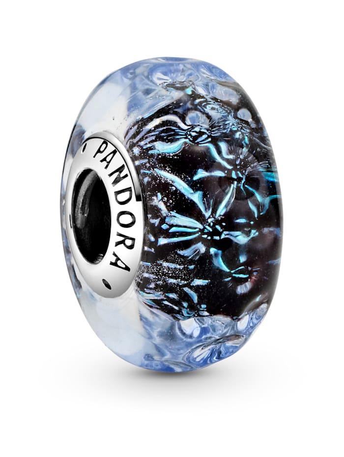Pandora Charm - Welliges dunkelblaues Ozean Muranoglas - 798938C00, Silberfarben