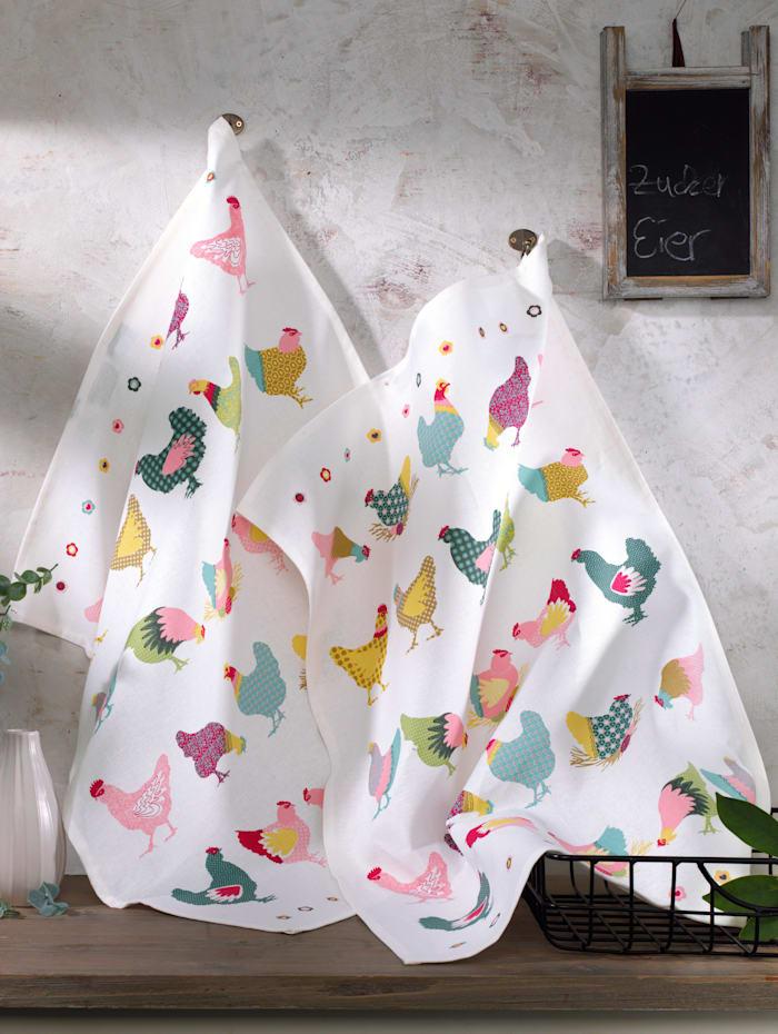 Kracht Set van 2 theedoeken Kippen, Multicolor