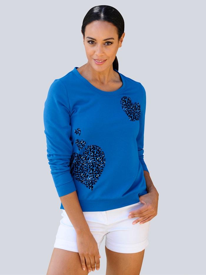 Alba Moda Strandshirt aus leichter Sweatware, Royalblau