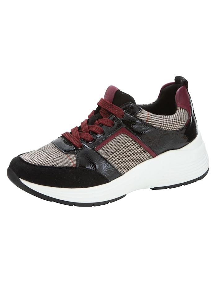 Remonte Sneaker met prince-de-gallespatroon, Zwart