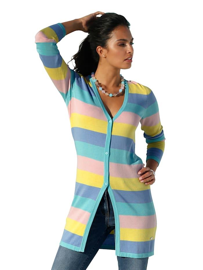 AMY VERMONT Vest met streepdessin, Blauw/Roze/Geel/Mint