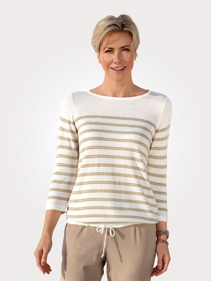 MONA Pullover mit glänzenden Ringeln, Ecru/Goldfarben