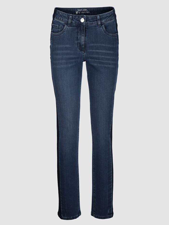 Jeans Laura Slim met denimstrepen