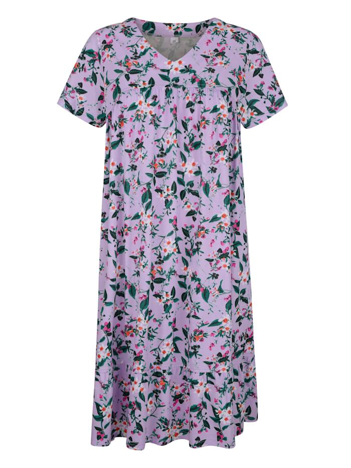 Simone Nachthemd met speelse volantzoom, Lila/Fuchsia/Groen
