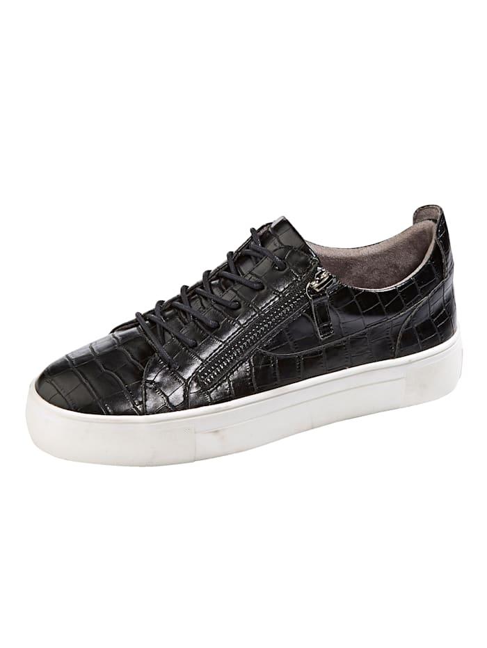 Liva Loop Sneakers med reptilmønster, Svart