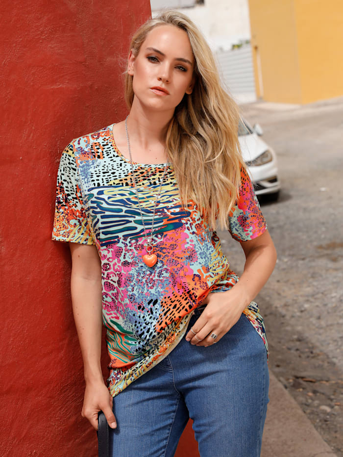 MIAMODA Shirt met animaldessin, Multicolor