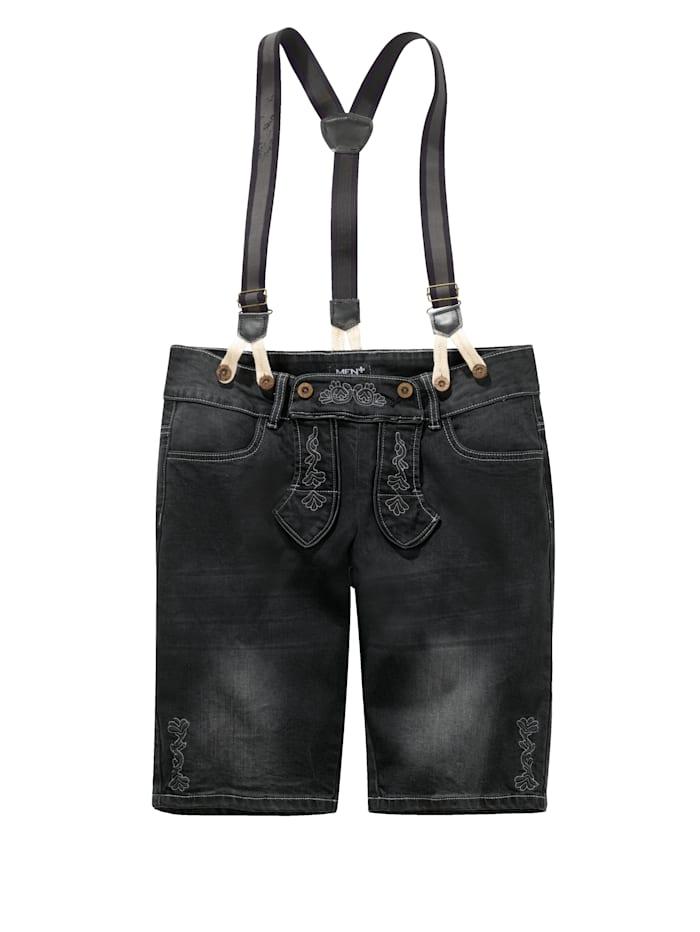 Džínsové bermudy v krojovom vzhľade vrátane trakov