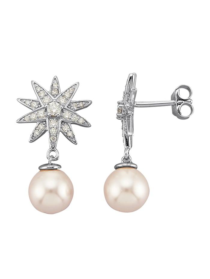 Atelier Imperial Sisi Boucles d'oreilles avec perles Swarovski, Coloris argent