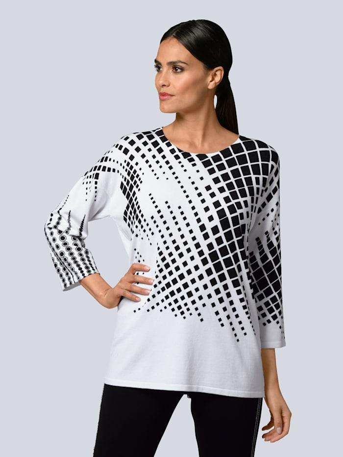 Alba Moda Pullover mit partiellem Grafik-Print, Weiß/Schwarz