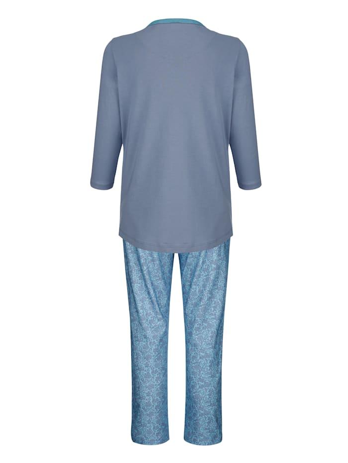 Pyjama met fraaie contrastkleurige paspels aan de hals