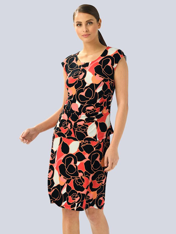 Alba Moda Kleid im Alba Moda Exklusiv-Dessin, Schwarz/Weiß/Orange