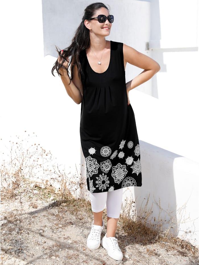 MIAMODA Robe à plis fantaisie devant, Noir/Blanc