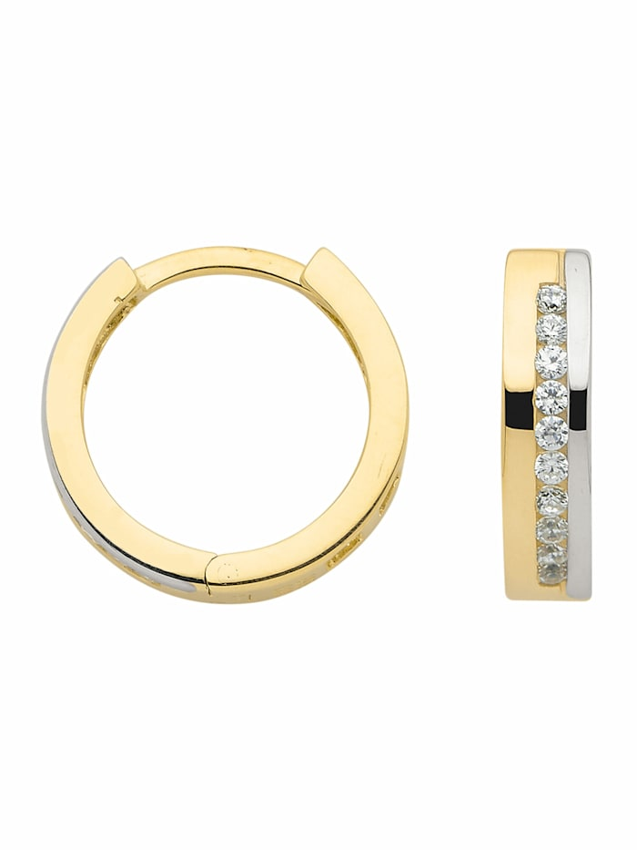 1001 Diamonds Damen Goldschmuck 333 Gold Ohrringe / Creolen mit Zirkonia, gold