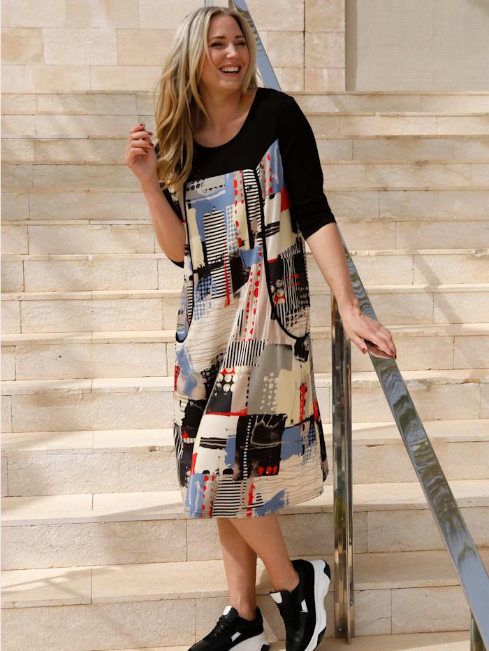 MIAMODA Robe à imprimé patchwork, Multicolore
