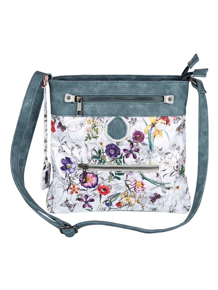Rieker Axelremsväska med blommönster och skimrande effekt, flerfärgad/jeans