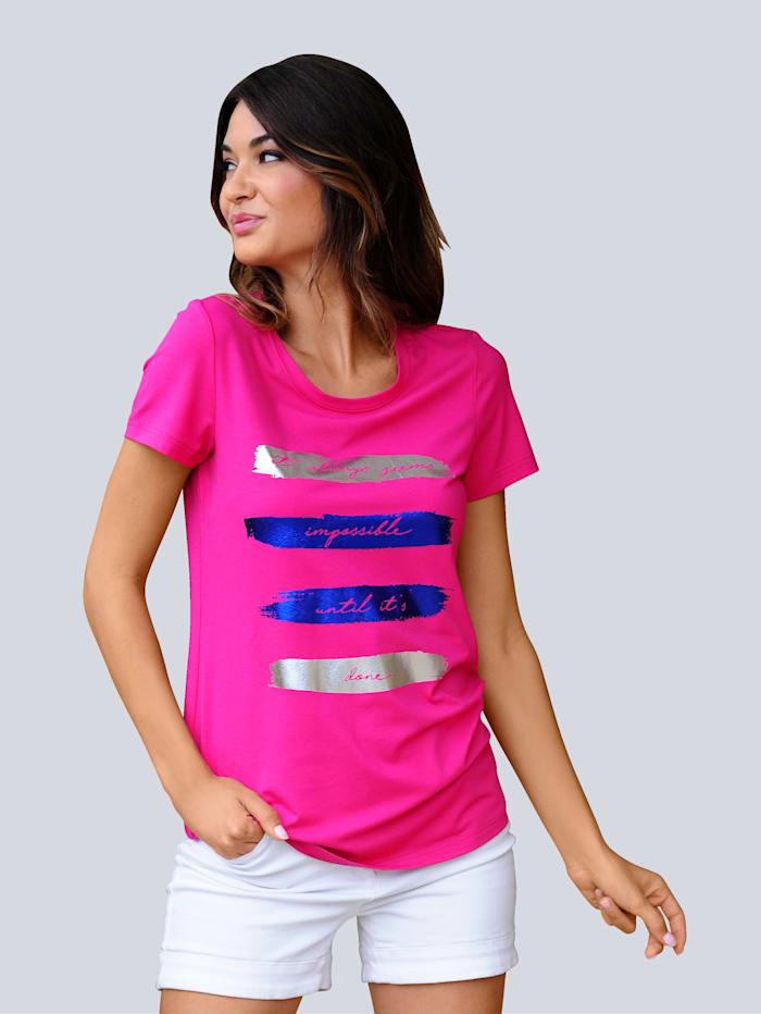 Alba Moda Strandshirt mit glänzendem Druck, Pink
