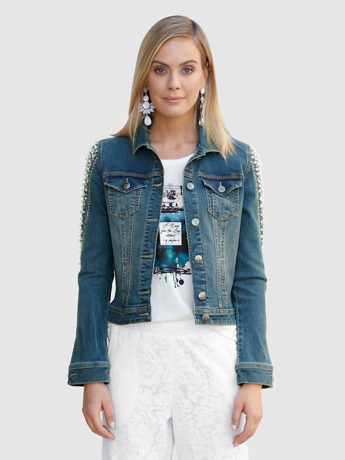 AMY VERMONT Džínsová bunda s perličkovou a štrasovou dekoráciou, Blue bleached