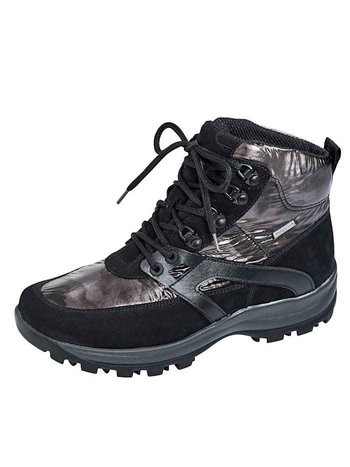Waldläufer Hoge wandelschoen van nubuckleer en textiel, Zwart