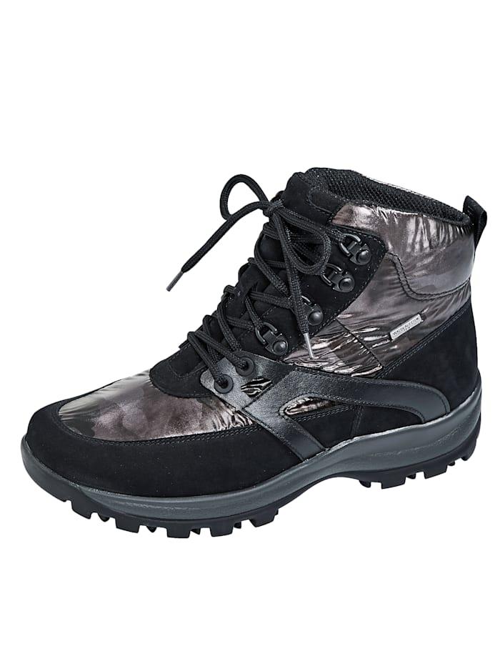 Waldläufer Trekkingstiefelette in Nubukleder- und Textilkombination, Schwarz