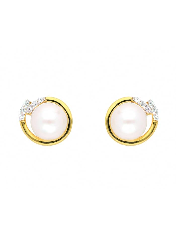 1001 Diamonds Damen Goldschmuck 333 Gold Ohrringe / Ohrstecker mit Zirkonia Ø 9,6 mm, gold