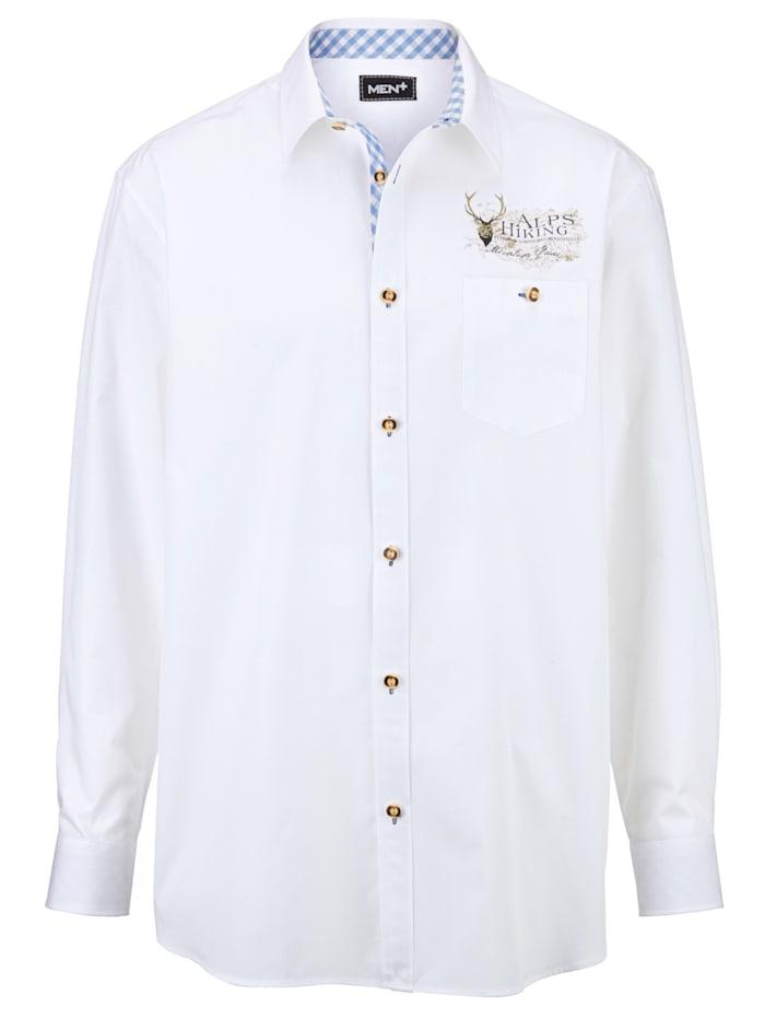Men Plus Trachtenhemd, Weiß/Hellblau