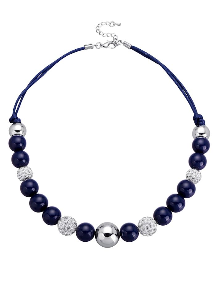 Collier avec pierre de verre, Bleu foncé