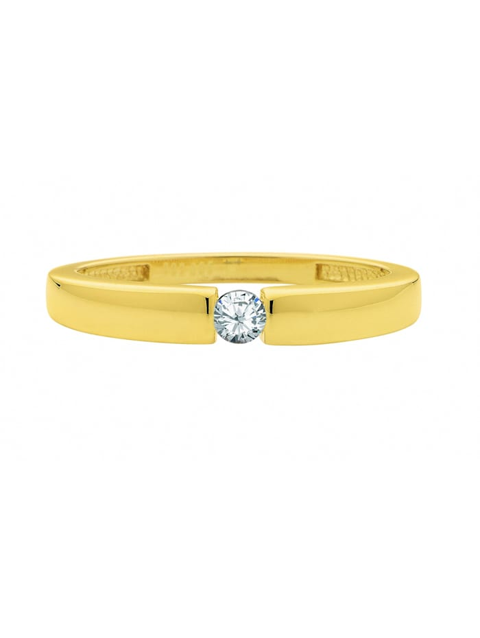 1001 Diamonds Damen Goldschmuck 585 Gold Ring mit Zirkonia, gold