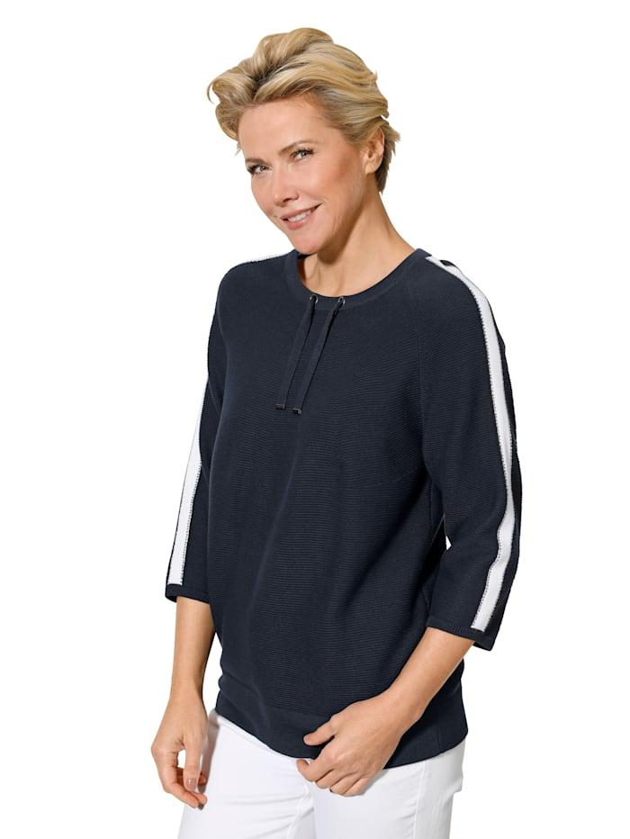 MONA Pullover aus reiner Baumwolle, Marineblau/Weiß