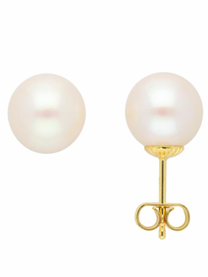 1001 Diamonds 1001 Diamonds Damen Goldschmuck 585 Gold Ohrringe / Ohrstecker mit Süßwasser Zuchtperle, gold