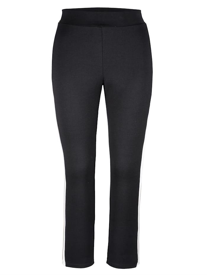 MIAMODA Hose mit streckenden Streifen, Schwarz/Weiß/Beige