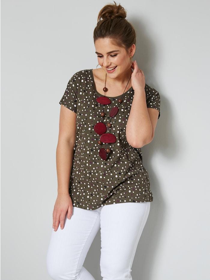 Janet & Joyce T-shirt en pur coton, Kaki/Blanc
