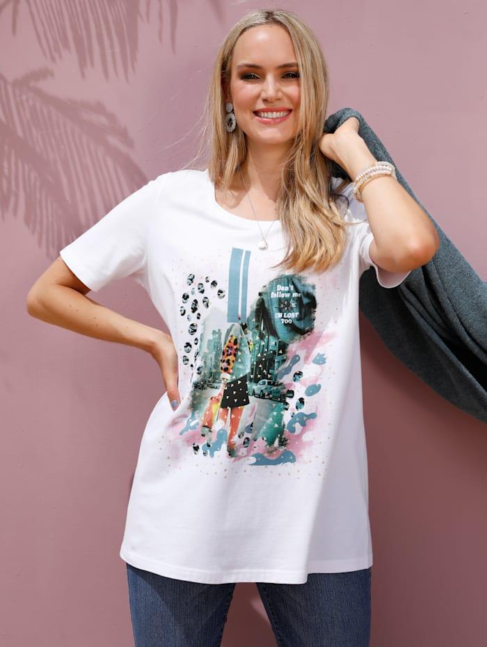 MIAMODA T-shirt à imprimé placé, Crème