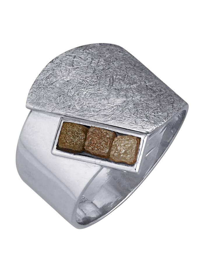 Damesring met ruwe diamant, Zilverkleur