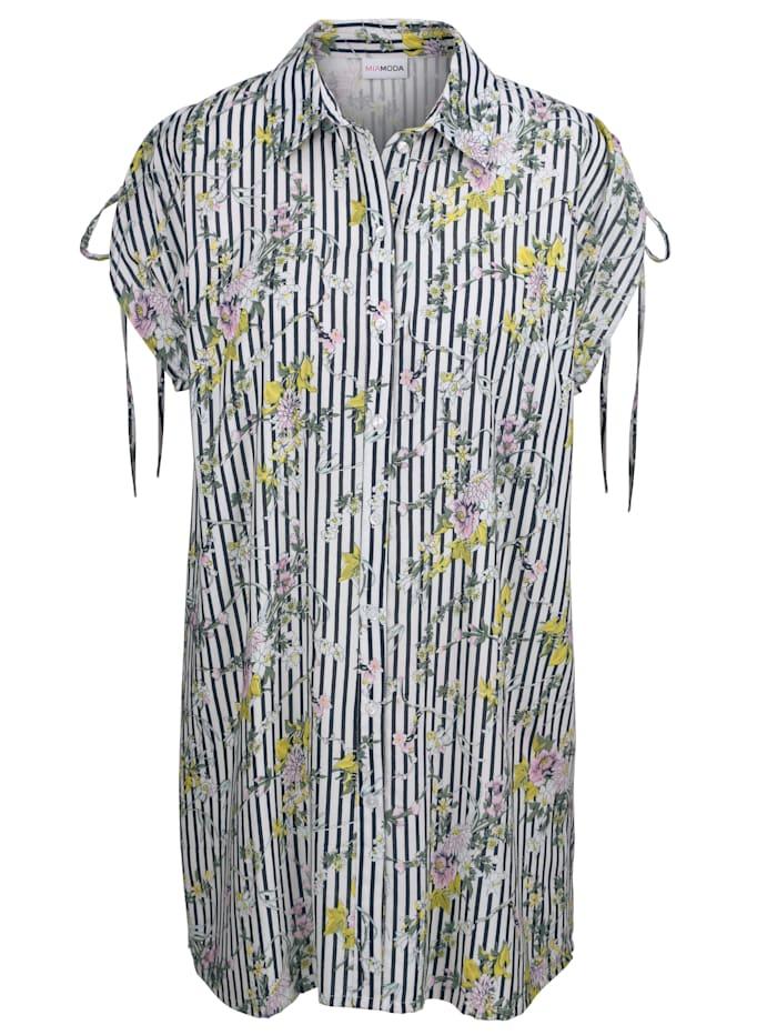 Bluse mit Streifen- und Blumendruck
